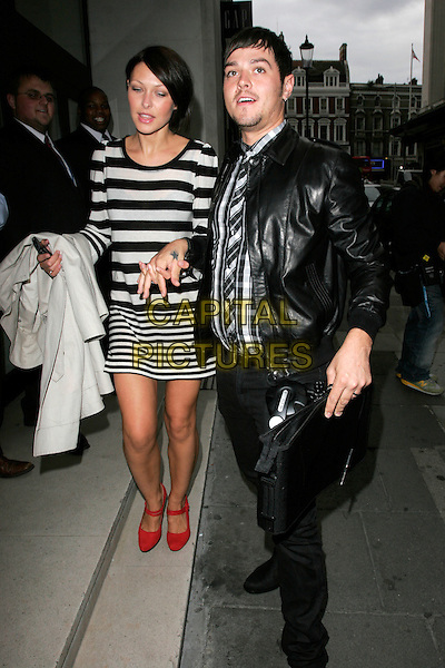 EMMA GRIFFITHS & MATT WILLIS.ITV2 Autumn Launch Party, The Roof Gardens, London, England..August 19th, 2008.full length jeans denim jacket black leather white striped stripes dress red shoes holding hands married husband wife couple plaid checkered shirt tattoo star .CAP/AH.©Adam Houghton/Capital Pictures.