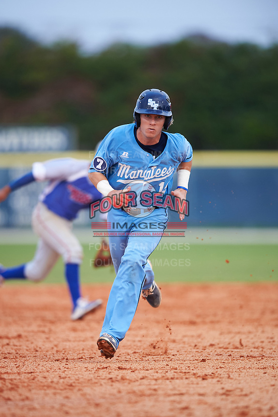 SCF Manatees Reilly Johnson (19) running the bases during a game against the College of Central Florida Patriots on February 8, 2017 at Robert C. Wynn Field in Bradenton, Florida.  SCF defeated Central Florida 6-5 in eleven innings.  (Mike Janes/Four Seam Images)
