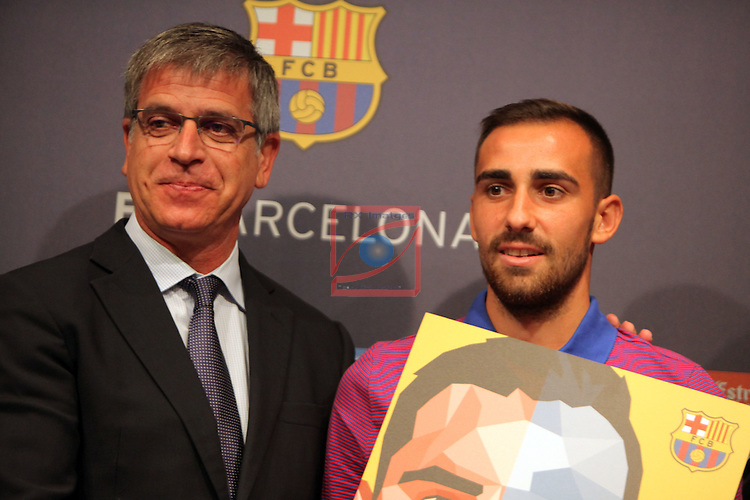 League Santander 2016/2017.<br /> Paco Alcacer presented as new player of FC Barcelona.<br /> Jordi Mestre &amp; Paco Alcacer.