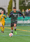15 November 2015: Binghamton University Bearcat Forward Logan Roberts, a Junior from Syracuse, NY, in action against the University of Vermont Catamounts at Virtue Field in Burlington, Vermont. The Bearcats fell to the Catamounts 1-0 in the America East Championship Game. Mandatory Credit: Ed Wolfstein Photo *** RAW (NEF) Image File Available ***