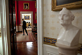 United States President Barack Obama reads through his statement in the Red Room of the White House before addressing the Nation on the ongoing efforts to find a balanced approach to the debt limit and deficit reduction, July 25, 2011. A marble bust of Amerigo Vespucci by Giuseppe Ceracchi is seen in the foreground. .Mandatory Credit: Pete Souza - White House via CNP