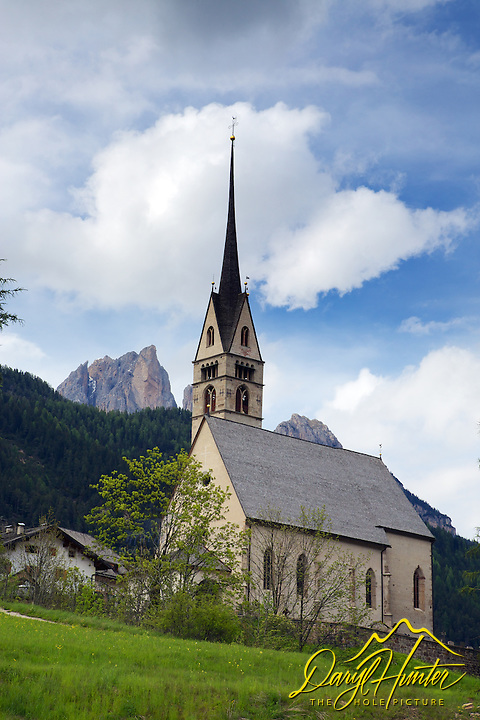 Church, Valle di Fassa, Sella Peaks, Dolomite Mountains, South Tyrol, Italy
