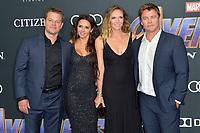 Matt Damon mit Ehefrau Luciana Barroso und Luke Hemsworth mit Ehefrau Samantha Hemsworth bei der Weltpremiere des Kinofilms 'Avengers: Endgame' im Los Angeles Convention Center. Los Angeles, 22.04.2019