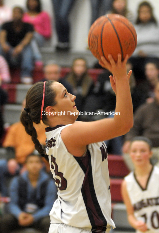 NAUGATUCK. CT, 28 FEBRUARY  2012-022812JS07-ACTION-Naugatuck's Lauren Piroscafo (13) puts up a shot during their Class L playoff game against Windsor Tuesday at Naugatuck High School. .Jim Shannon Republican-American