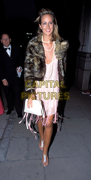 VICTORIA HERVEY.Lycra British Style Awards 2003, Old Billingsgate Market.fur coat, pearl necklace, beads, tassles, ribbons, frayed dress, silver sandals, white clutch handbag, full length, full-length.www.capitalpictures.com.sales@capitalpictures.com.© Capital Pictures.