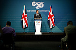 United Kingdom's Prime Minister David Cameron gives a press conference to end the G20 Leaders' Summit in Brisbane. <br /> Photograph by Steve Christo/G20 Australia