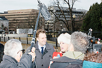 The Daily Show correspondent Jordan Klepper interviews people outside the White House in Washington, D.C., on Jan. 19, 2017, the day before the inauguration of president-elect Donald Trump.