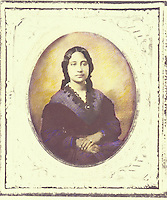Historical hand-tinted portrait of Princess Bernice Pauahi Bishop. founder of Kamehameha Schools