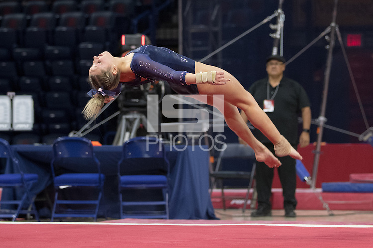 TUCSON, AZ - February 10, 2017: Cal Bears Women's Gymnastics team vs. the Arizona Wildcats at McKale Center. Final score, Cal Bears 195.325, Arizona Wildcats 196.100
