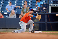 St. Lucie Mets first baseman Jeremy Vasquez (16) stretches for a throw during a Florida State League game against the Tampa Tarpons on April 10, 2019 at George M. Steinbrenner Field in Tampa, Florida.  St. Lucie defeated Tampa 4-3.  (Mike Janes/Four Seam Images)