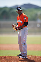 Miami Marlins pitcher Esmerling De La Rosa (25) during a Minor League Spring Training game against the St. Louis Cardinals on March 26, 2018 at the Roger Dean Stadium Complex in Jupiter, Florida.  (Mike Janes/Four Seam Images)