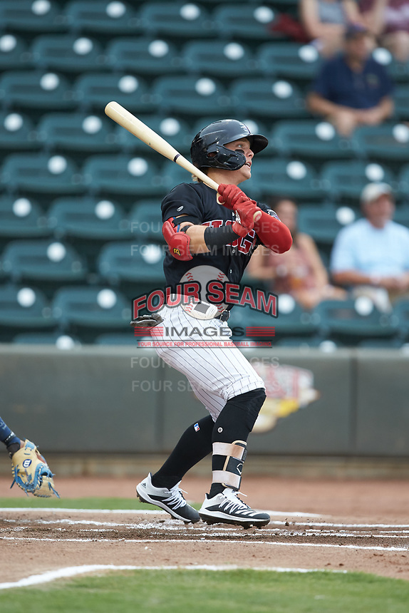 Steele Walker (6) of the Winston-Salem Warthogs follows through on his swing against the Wilmington Blue Rocks at BB&T Ballpark on July 17, 2019 in Winston-Salem, North Carolina. The Blue Rocks defeated the Warthogs 4-1. (Brian Westerholt/Four Seam Images)