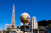 United States, Nevada, Las Vegas Strip. Paris Las Vegas opposite Bellagio. with a half size replica of the Eiffel tower.