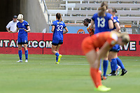 Houston, TX - Saturday May 27, 2017: Megan Rapinoe celebrates her goal during a regular season National Women's Soccer League (NWSL) match between the Houston Dash and the Seattle Reign FC at BBVA Compass Stadium.