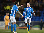 St Johnstone v Motherwell&hellip;17.12.16     McDiarmid Park    SPFL<br />Chris Millar gets a pat on the back from Richie Foster as he is subbed<br />Picture by Graeme Hart.<br />Copyright Perthshire Picture Agency<br />Tel: 01738 623350  Mobile: 07990 594431