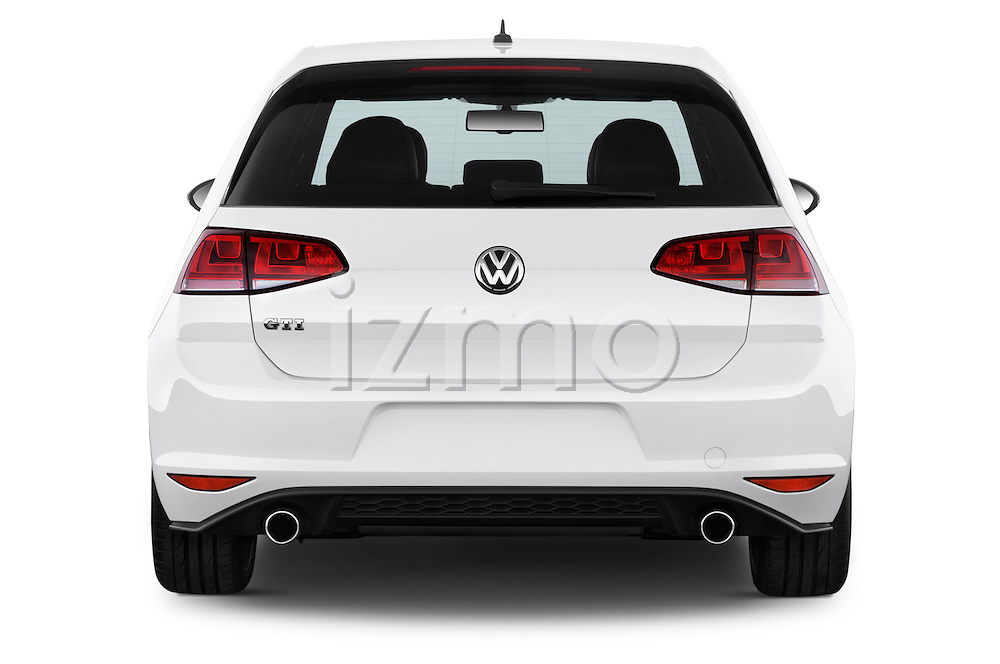 Straight rear view of a 2015 Volkswagen GTI DSG SE PZEV 5 Door Hatchback Rear View  stock images