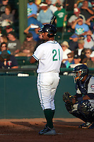Daytona Tortugas designated hitter Angelo Gumbs (21) at bat during a game against the Fort Myers Miracle on April 17, 2016 at Jackie Robinson Ballpark in Daytona, Florida.  Fort Myers defeated Daytona 9-0.  (Mike Janes/Four Seam Images)