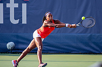 Washington, DC - August 3, 2019:  Coco Gauff (USA) stretches for the ball during the  Women Doubles finals at William H.G. FitzGerald Tennis Center in Washington, DC  August 3, 2019.  (Photo by Elliott Brown/Media Images International)