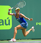 March 28 2016: Agnieszka Radwanska (Pol) loses to Timea Bacsinszky (SUI) 2-6, 6-4, 6-2, at the Miami Open being played at Crandon Park Tennis Center in Miami, Key Biscayne, Florida.