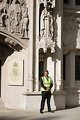 A security guard outside the new Supreme Court in Parliament Square.