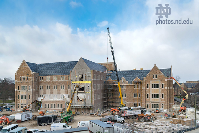 March 10, 2017; Jenkins and Nanovic Halls under construction (Photo by Matt Cashore/University of Notre Dame)