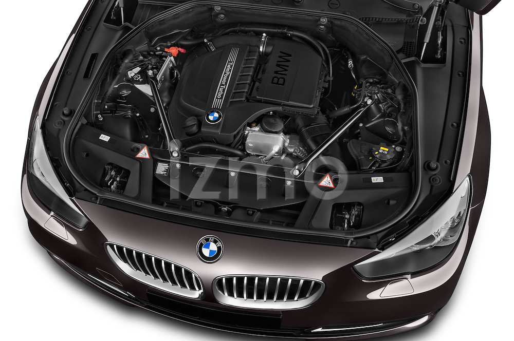 Car Stock 2015 BMW 5 Series 535i Gran Turismo Luxury Line 5 Door Hatchback Engine  high angle detail view