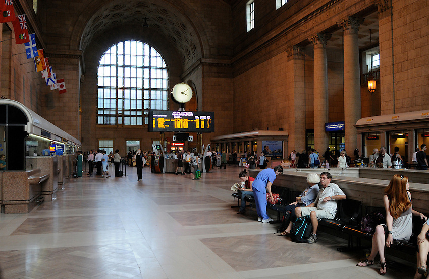 Travelers waiting on a summer's day at Toronto's Union Station