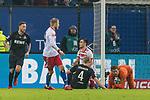 20.01.2018, Volksparkstadion, Hamburg, GER, 1.FBL, Hamburger SV vs 1. FC Koeln<br /> <br /> im Bild<br /> Filip Kostic (Hamburger SV #17) mit Nachschuss, Milos Jojic (Koeln #08), Frederik S&oslash;rensen / Sorensen (Koeln #04), Timo Horn (Koeln #01), Horn h&auml;lt Nachschuss, <br /> <br /> Foto &copy; nordphoto / Ewert