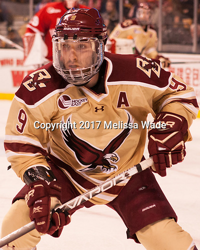 Austin Cangelosi (BC - 9) - The Boston University Terriers defeated the Boston College Eagles 3-1 in their opening Beanpot game on Monday, February 6, 2017, at TD Garden in Boston, Massachusetts.