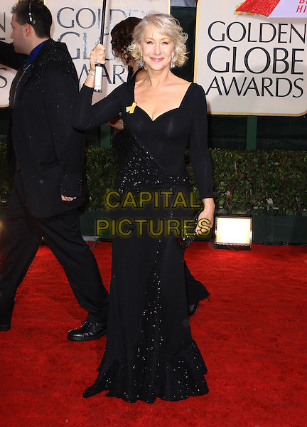 DAME HELEN MIRREN .67th Golden Globe Awards held Beverly Hilton, Beverly Hills, California.17th January 2010..arrivals globes full length black beaded long maxi sleeved sleeves dress umbrella raining clutch bag sparkly .CAP/ADM/KB.©Kevan Brooks/Admedia/Capital Pictures