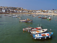 Lobster and crab fishing boats moored in St Ives harbour Cornwall UK..©shoutpictures.com..john@shoutpictures.com