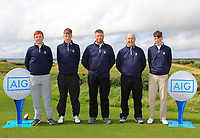 The Galway Team during the Connacht Final of the AIG Barton Shield at Galway Bay Golf Club, Galway, Co Galway. 11/08/2017<br /> <br /> Ronan Mullarney, Luke O'Neill, Gerry Cox (Captain), Joe Lyons and Liam Power.<br /> <br /> Picture: Golffile | Thos Caffrey<br /> <br /> <br /> All photo usage must carry mandatory copyright credit     (&copy; Golffile | Thos Caffrey)