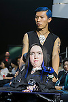 Disabled model Alexandrine sits on an electric wheelchair and poses on the catwalk wearing clothes from the tenbo 2016 Spring-Summer Collection during the Mercedes-Benz Fashion Week Tokyo, in Roppongi on October 13, 2015, Tokyo, Japan. tenbo invited people with disabilities to join models and celebrities on the runway in a message of peace. The Mercedes-Benz Fashion Week Tokyo runs from October 12 to 17. (Photo by Rodrigo Reyes Marin/AFLO)