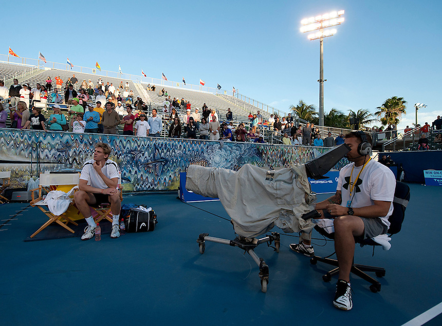 Kevin Anderson (RSA) waits for the trophy presentation after his victory over Marinko Matosevic (AUS)  in their Final match today - Kevin Anderson (RSA) def Marinko Matosevic (AUS) 7-5 7-6(4)..ATP 250 Tennis - 2012 Delray Beach International Tennis Championships - Day 7 - Sunday 04 March 2012 - Delray Beach Stadium & Tennis Center - Delray Beach - Florida - USA..
