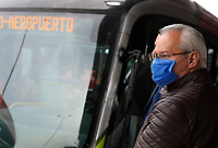 """BOGOTA, COLOMBIA - March 13:  A man wears a face mask as he waits for public transportation """"Transmilenio"""" on March 13, 2020 in Bogota, Colombia. The World Health Organization declared a global pandemic as the coronavirus rapidly spreads across the world. Colombian President Ivan Duque declared a health emergency to contain an outbreak of coronavirus, suspending public events with more than 500 people.(Photo by John W. Vizcaino/VIEWpress)"""