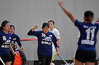 Malaysia's Nor Saliza Binti Ahmad Soobni in action during the World Floorball Championships 2017 Qualification for Asia Oceania Region - Malaysia v China at ASB Sports Centre , Wellington, New Zealand on Sunday 5 February 2017.<br /> Photo by Masanori Udagawa<br /> www.photowellington.photoshelter.com.