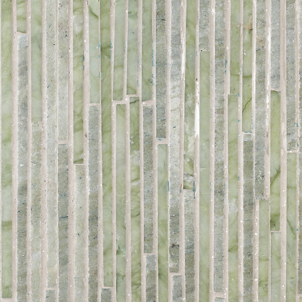 Bohemian Waxwing, a stone mosaic from the Tatami Collection, is shown in Verde Luna and Chartreuse.