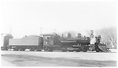 Side view of K-28 #470 with plow.<br /> D&amp;RGW  Salida, CO  Taken by Nixon, R. V. - 5/10/1933