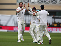 England's Stuart Broad (left) celebrates taking the wicket of South Africa's Hashim Amla<br /> <br /> Photographer Stephen White/CameraSport<br /> <br /> Investec Test Series 2017 - Second Test - England v South Africa - Day 1 - Friday 14th July 2017 - Trent Bridge - Nottingham<br /> <br /> World Copyright &copy; 2017 CameraSport. All rights reserved. 43 Linden Ave. Countesthorpe. Leicester. England. LE8 5PG - Tel: +44 (0) 116 277 4147 - admin@camerasport.com - www.camerasport.com