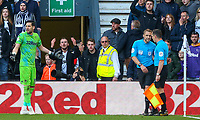 Referee Craig Pawson has a word with his assistant before reversing the penalty decision<br /> <br /> Photographer Alex Dodd/CameraSport<br /> <br /> The EFL Sky Bet Championship Play-off  First Leg - Derby County v Leeds United - Thursday 9th May 2019 - Pride Park - Derby<br /> <br /> World Copyright © 2019 CameraSport. All rights reserved. 43 Linden Ave. Countesthorpe. Leicester. England. LE8 5PG - Tel: +44 (0) 116 277 4147 - admin@camerasport.com - www.camerasport.com