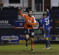 Ollie Palmer of Luton Town celebrates his goal during the Sky Bet League 2 match between Luton Town and Hartlepool United at Kenilworth Road, Luton, England on 14 March 2017. Photo by Liam Smith.