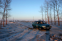 Our car didn't go any further than that on the frozen road. We had to walk to Yongfu village, which we reached after sunset, on February 27, 2006. Photo by Lucas Schifres/Pictobank
