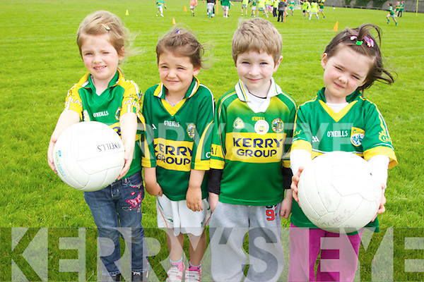 Pictured at the John Mitchels GAA summer camp on Tuesday were, l-r: Sarah Slattery, Alanna Cunnane, Jack Rusk and Kate McCann.