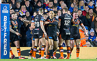 Picture by Allan McKenzie/SWpix.com - 23/03/2018 - Rugby League - Betfred Super League - Leeds Rhinos v Castleford Tigers - Elland Road, Leeds, England - Castleford celebrate Junior Moors try against Leeds.