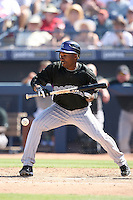 Jonathan Herrera, Colorado Rockies 2010 spring training, against the Seattle Mariners at Peoria Stadium, Peoria, AZ - 03/18/2010..Photo by:  Bill Mitchell/Four Seam Images.
