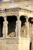 Three women close up statues in Parthenon in Athens Greece