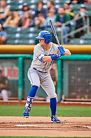 Ryan O'Hearn (21) of the Omaha Storm Chasers bats against the Salt Lake Bees in Pacific Coast League action at Smith's Ballpark on May 8, 2017 in Salt Lake City, Utah. Salt Lake defeated Omaha 5-3. (Stephen Smith/Four Seam Images)