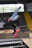 BOGOTA - COLOMBIA - 12 - 08 - 2017: Margaret Mejia, Skater de Costa Rica, durante competencia en el Primer Campeonato Panamericano de Skateboarding, que se realiza en el Palacio de los Deportes en la Ciudad de Bogota. / Margaret Mejia, Skater from Costa Rica, during a competitions in the First Pan American Championship of Skateboarding, that takes place in the Palace of Sports in the City of Bogota. Photo: VizzorImage / Luis Ramirez / Staff.
