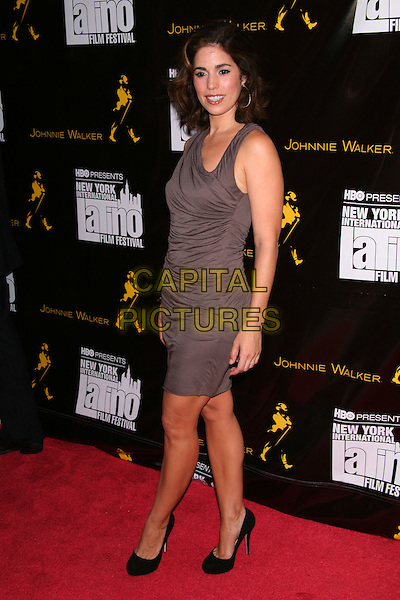 "ANA ORTIZ.The Premiere of ""The Dry Land"" on the Opening Night of the 11th Annual New York International Latino Film Festival at the SVA Theatre, New York, NY, USA.July 27th, 2010 .full length dress black shoes beige brown sleeveless ruched .CAP/LNC/TOM.©TOM/LNC/Capital Pictures."