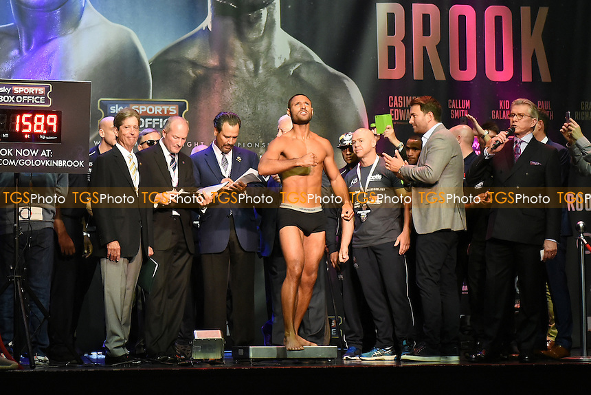 Boxer Kell Brook on the scales during a Weigh-In at the O2 Arena on 9th September 2016